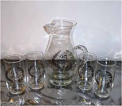 Vintage SET - Clear Glass Pitcher with 4 Glasses, Silver 25 Year Anniversary