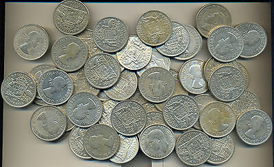 Coins Australia silver 2/- florins x 50 all post 1945 & circulated, nice group