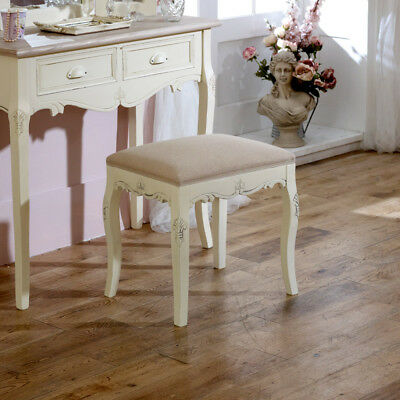 Cream padded dressing table stool shabby french chic country bedroom furniture