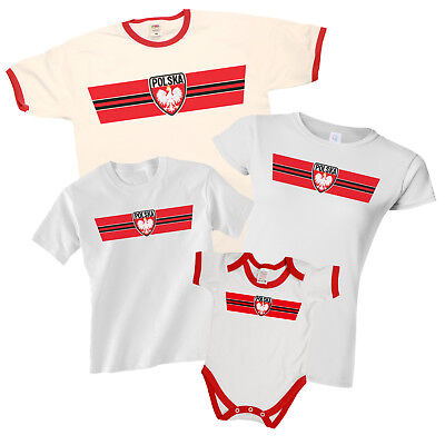 POLAND Patriotic Fan Kit Retro Strip T-Shirt Football MENS LADIES KIDS BABY
