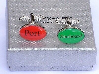 "CRUISERS/SAILORS GIFT ""Port/Starboard"" Silver Style METAL CUFF LINKS in GIFT BOX"