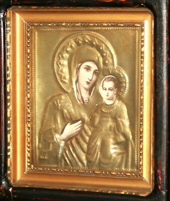 Antique hand made printed icon with brass facing Virgin Mary and Christ Child