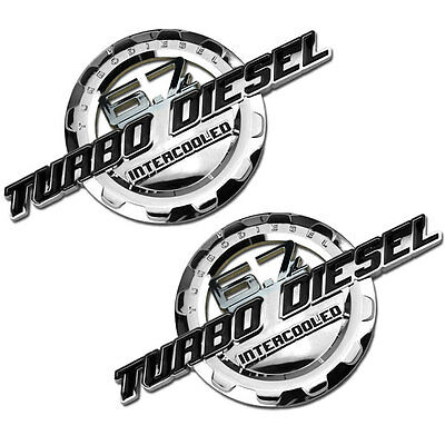 Chrome Turbo Diesel Engine Motor Badge For Trunk Hood