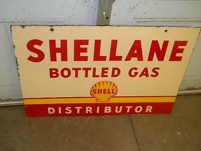 Old Shell SHELLANE Bottle Gas Motor OIl DSP Porcelain Station Sign ORIGINAL