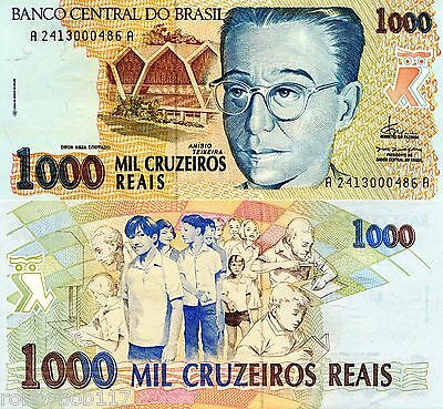 BRAZIL 1000 Cruzeiros Banknote World Money Currency BILL South America Note p240