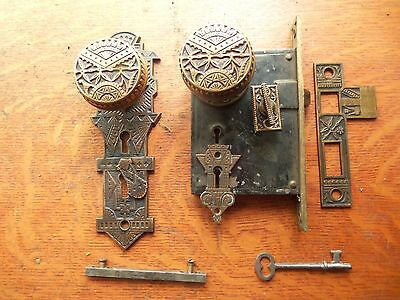 "Antique Bronze Entrance Doorknobs Doorplates & Lock ""Oriental"" Branford c1885"