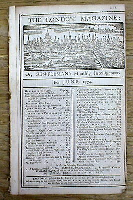 1747-1774 PRE Revolutionary War newspaper w front page engraving LONDON England
