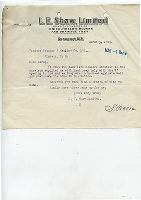 Old 1925 L.E.Shaw Bricks Tiles Avonport Nova Scotia Letterhead