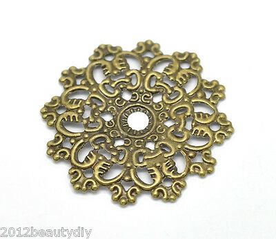Wholesale New 30Pcs Bronze Tone Filigree Wraps Connectors 4.3x4.3cm Fit 14.5mm