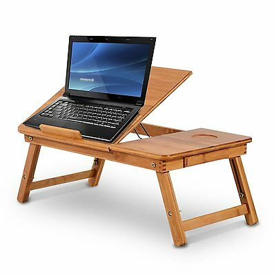 HOMCOM Foldable Bamboo Laptop Stand Lapdesk Notebook Desk Cooling Table w/Drawer