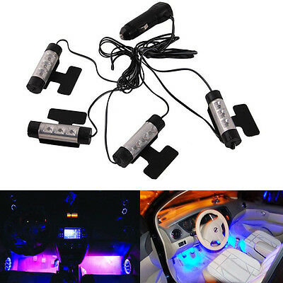 4x 3LED Car Atmosphere Lamp Floor Decorative Charge Interior Light Accessories
