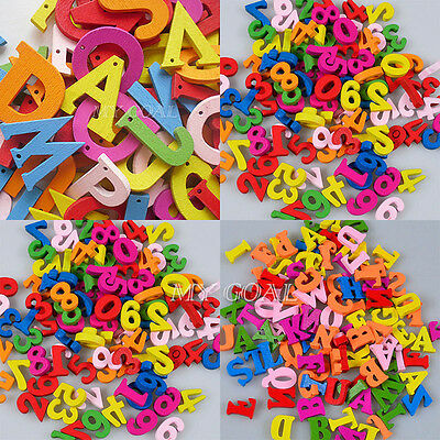 200x Wooden Letters Numbers Flatback Scrapbooking Embellishments Craft DIY XMAS