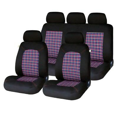 9 Piece Tartan Chequered GTI Look Seat Covers Peugeot 107 207 208 307 308 408
