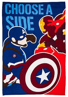 New Captain America / Iron Man Civil War Design Fleece Blanket Boys Kids Throw