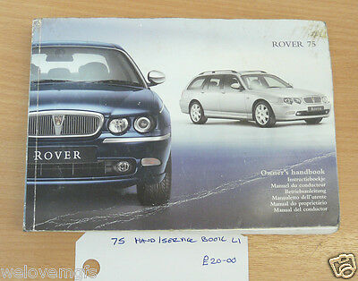 ROVER 75  Owners Handbook / Manual Service Book (L1)