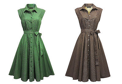 New Retro Vtg 1940's 1950's Shirt Tea Dress with Small Polka Dots