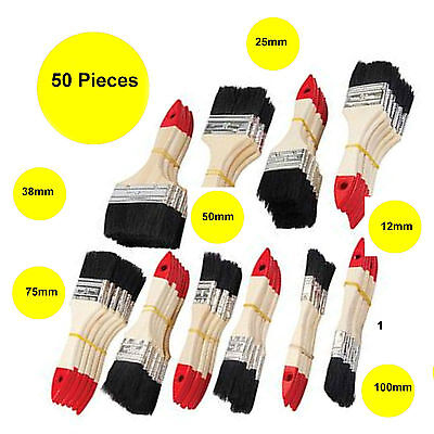 50 x New Paint Brushes Disposable Wooden Handle  12mm - 100mm Pure Bistle  26T