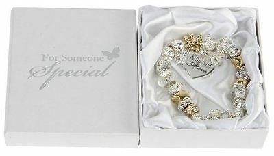 SPECIAL MUM CHARM BRACELET - Gold & Silver With Heart Great Gift
