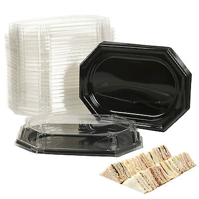 Black Tray Clear Lid Sandwich Food Platters Fruit Vegetable Catering Serving NEW