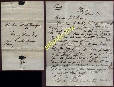 1830 Sir Harry Verney, CLAYDON HOUSE letter re Revd Milwards property in Botolph
