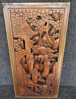 """VINTAGE WOOD RELIEF PIERCE CARVED ASIAN INDONESIAN PANEL 10 1/8"""" x 20 1/4""""   B"""