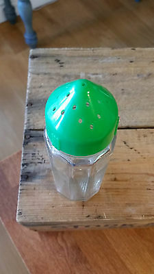 Vintage Glass Sugar Sifter / Shaker – Green Early Plastic Top – Retro! –