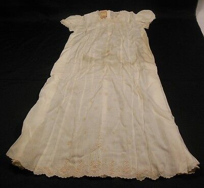 Vintage 1940s Old RIC Dept Store Hand Embroidered Christening Child Doll Dress