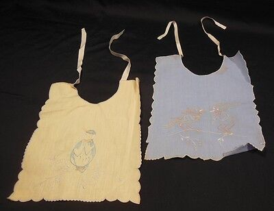 Pair of 1940s Vintage Baby Bibs Delicate Hand Embroider Yellow and Blue