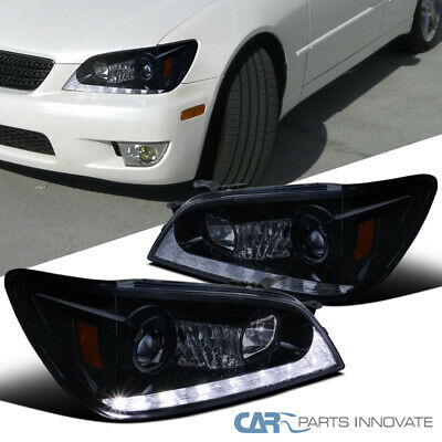 Fit 01-05 Lexus IS300 Glossy Black LED & Signal Projector Headlights Pair