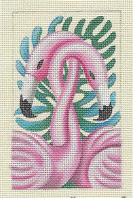 """FLAMINGOS ~ PINK PASSION""  handpainted Needlepoint Canvas by Leigh Design"
