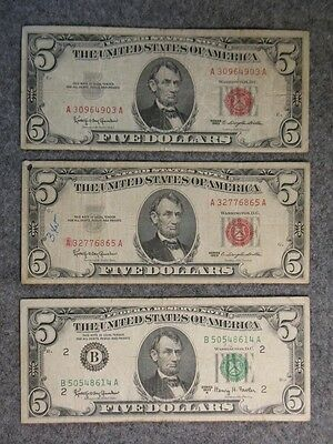 Five Dollar Currency Lot - 1963 Us Notes & Federal Reserve Note - $5 Bills