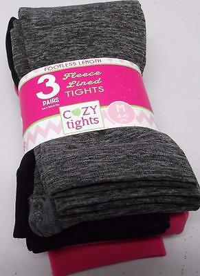 3 pair FLEECE LINED COZY TIGHTS SIZE M  4-6 FOOTLESS LENGTH PINK  BLACK GRAY NEW