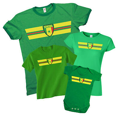 SENEGAL World CUP 2018 Retro Strip T-Shirt Football Choice MENS LADIES KIDS BABY