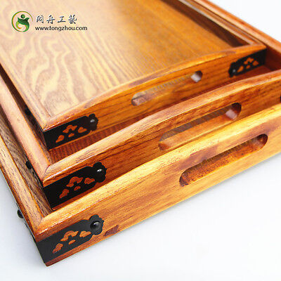 Natural Wood Serving Tray Tea Food Server Dishes Platter Rectangle Wooden Plate