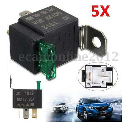 5x Fused On/Off Car Motor Automotive Fused Relay DC 12V 30A 4 Pin 4P SPST Metal