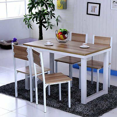 Simple Style Cafe Bistro Restaurant Dining Table and 4 Chairs Set Wooden & Metal
