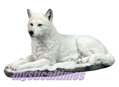 New White Shadow Wolf Nemesis Statue Figurine Ornament With Free Post G0750