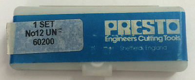 Presto UK No.12 HSS UNF Set of 3 taps / Direct from RDGTools