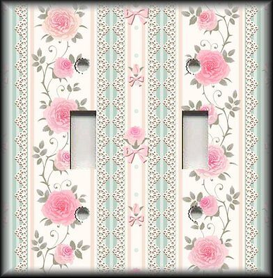 Metal Light Switch Plate Cover - Pink Green Lace Victorian Rose - Home Decor