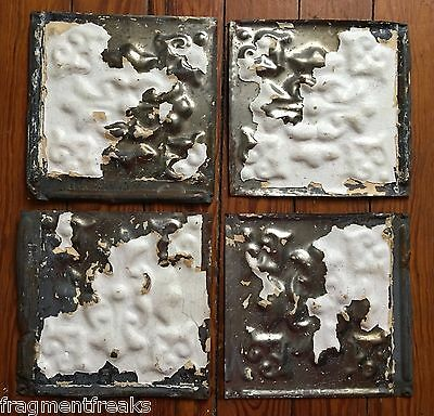 "Antique Reclaimed Tin Ceiling Tiles 4 6"" x 6""  White B3a"