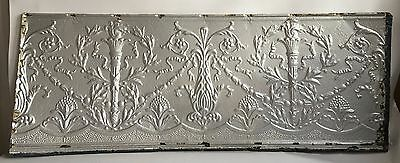 Antique Tin Ceiling Tile Torches Silver  *See our salvage Video 18.5 x 48 Floral