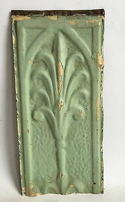 "6"" x 13"" Antique Tin Tile *See Our Salvage Videos* Vintage Metal Green A3"