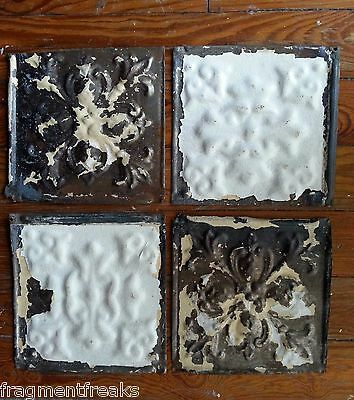 "4 6"" x 6""  Antique Tin Ceiling Tiles *SEE OUR SALVAGE VIDEOS* White GG13"