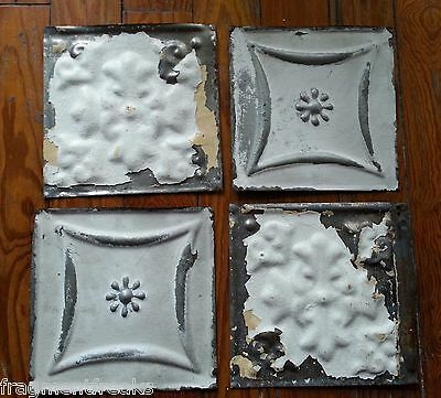 "4 6"" x 6"" Antique Tin Ceiling Tiles *SEE OUR SALVAGE VIDEOS* White GG7 Reclaimed"