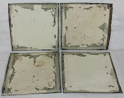 "4 6"" x 6""  Antique Tin Ceiling Tiles *SEE OUR SALVAGE VIDEOS* Cream LJ9"