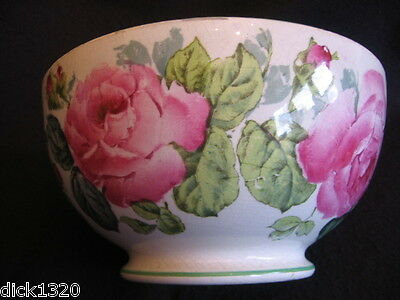 """DECO GEORGE JONES 'CABBAGE ROSE' #19529SC DEEP 9"""" FOOTED BOWL c.30's Lt A/F"""
