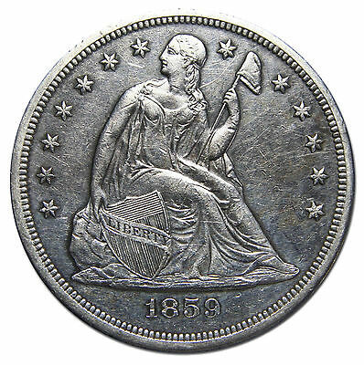 1859O Seated Liberty Silver Dollar $1 Coin Lot# MZ 2343