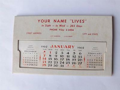 Calendar Vintage Salesman Sample 1962 Desktop