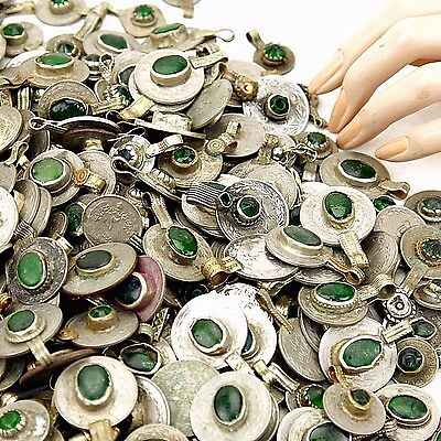 polished MIXED 10 real Jeweled COINS Tribal Belly Dance Kuchi