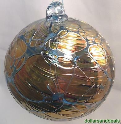 New Silver Stained Witch Ball Glass Friendship Sun Catcher Silver & Blue #2